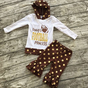 In Stock-daddys football princess gold dot hoodie and ruffle pant set