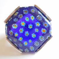 Vintage Millefiori Ring Blue Glass Large Silver sz 8