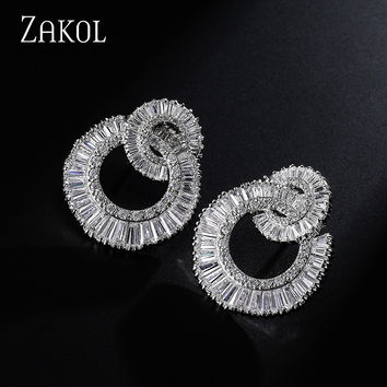 ZAKOL Top Quality Platinum Plated Earrings With Tiny Dazzling Cubic Zircon Diamond Stud Earrings For Women Gift FSEP371