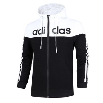 ADIDAS autumn and winter models men and women couples casual jackets running cardigan sportswear Black+white