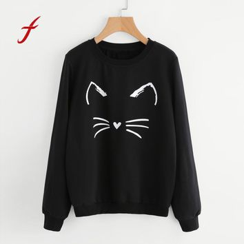 FEITONG Feamle Sweatshirt Fashion Casual Long Sleeve O-Neck Cat Printing Jumper Pullover Tops Autumn Winter Tracksuit For Women