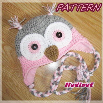 Crochet PATTERN, Owl crochet hat pattern, owl hat pattern, girl crochet hat pattern, crochet owl, gratis: hat lining FREE Tutorial