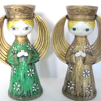 Vintage 1960's Dickson Angel Candle Holders, Christmas Angel Figurines, Christmas Decor, Mid Century