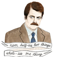 Ron Swanson watercolour portrait PRINT Parks and Recreation Nick Offerman