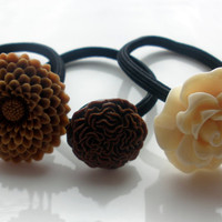 Earth Tones  Brown Cream & Tan flower hair band hair accessories set of 3 ponytail holders elastics lot hairband