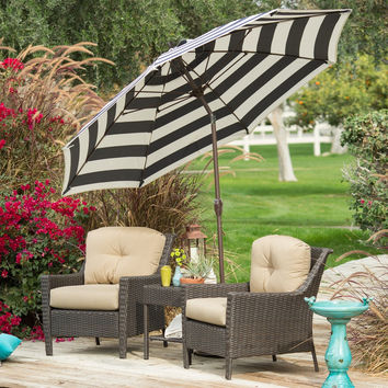 7.5-Ft Patio Umbrella with Navy and White Stripe Outdoor Fabric Canopy and Metal Pole