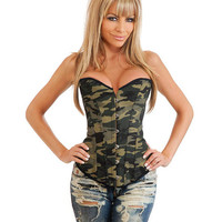 Camo Queen Burlesque Corset W-front Busk Closure, Lace Up Back & Thong Camouflage Xl