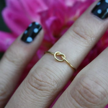 Gold Love Knot Ring// Gold knot ring, Love knot ring, Knuckle Ring, Midi Ring, Adjustable ring, Thin gold ring, Gold knuckle ring, Gift