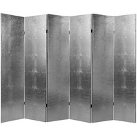 Oriental Furniture L-CROC-SLV-6P Six Ft. Tall Faux Leather Silver Crocodile Room Divider Six Panel, Width - 94.5 Inches