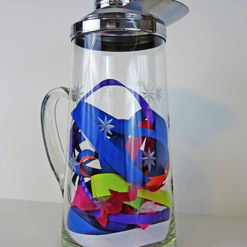 Vintage Chill-It Pitcher Gilley Chrome with Aluminum Ice Tube Etched Glass 2GoodPoniesVintage