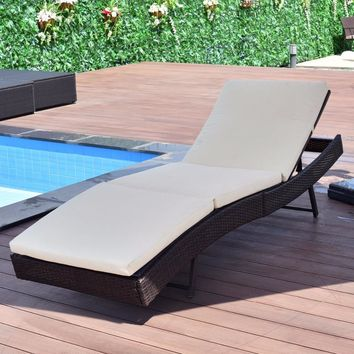 Giantex Patio Sun Bed Adjustable Pool Wicker Lounge Chair Portable Outdoor Furniture Garden Sun Lounger With Cushion HW54848
