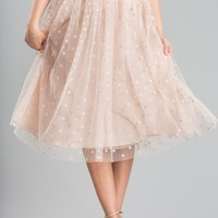 Evelyn Pink Polka Dot Tulle Midi Skirt
