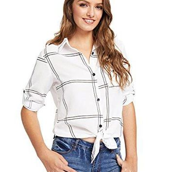 Floerns Womens Rolled Sleeve Button Down Checked Knot Front Blouse Tops