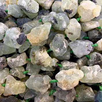 natural prehnite rough gemstone - free form nugget beads - pale green nuggets - gemstone charms wholesale -rough gemstones wholesale -15inch