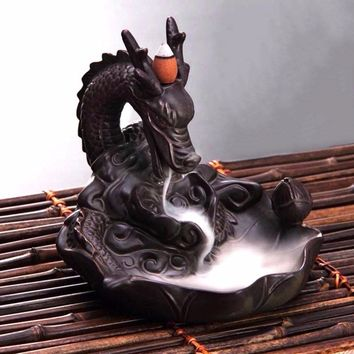 Incense Cones/Incense Burner Dragon Ceramic Censer Backflow Incense Holder