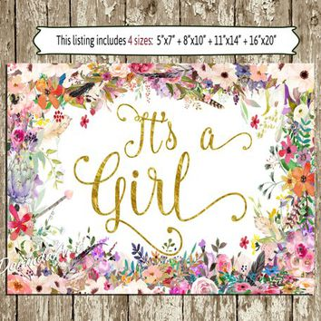 Bohemian It's A Girl Baby Shower Printable Watercolor Spring flowers Floral It's A Girl Announcement Table Sign Boho Baby Shower Decoration