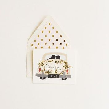 THE FIRST SNOW MR AND MRS VINTAGE CAR CARD