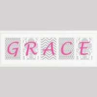 Personalized Nursery Letters Custom Prints Gray and White Patterns with Pink Letters Custom Names Digital Nursery Decor, Wall Letters, 8x10