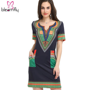Dashiki dress 2016 Summer Sexy African Print Shirt Dresses Femme Vintage Mini hippie Plus Size Boho Women Casual Clothing