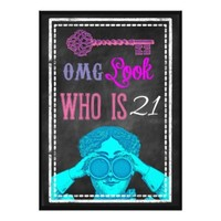 Hip Chalkboard Retro 21st Birthday Party Invites