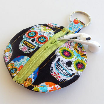 Earbud Holder / Coin Pouch / Sugar Skull Coin Purse / Sugar Skulls / Skull Accessories / Earbud Case / Ear Bud Holder / Small Pouch