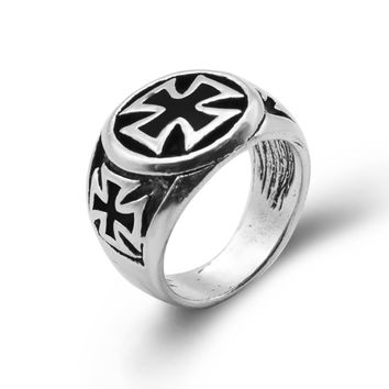 Unique Fashion Male's Cross Ring High Quality Cool Fashion Iron Cross Ring Man Black Oil Painting jewelry