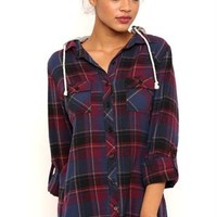 Long Sleeve Flannel Top with French Terry Hood