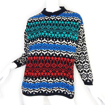 Vintage 80s Colorful Geometric Women's Hipster Sweater - Medium - Black White Teal Red Blue Fair Isle Knit Collared Pullover Jumper