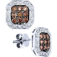 White And Brown Round Cognac Diamond Ladies Fashion Earrings in 14k White Gold 0.77 ctw