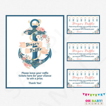 Nautical Diaper Raffle Ticket, Nautical Diaper Raffle Sign, Pink and Blue, Girl Baby Shower, Boy Baby Shower Printables, Download, NA01