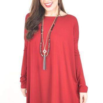 Maroon Long Sleeve Boat Neck Piko Tunic