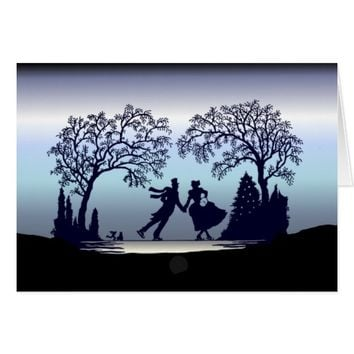 Ice Skating in the Park - Silhouette Card