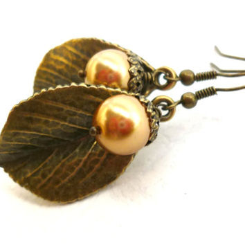 Gold Acorn with Leaf Dangle Earrings, Bronze Forest Fairy Bride, Woodland Wedding Jewelry, Leaves for Her, Bridal, Autumn Fall Weddings