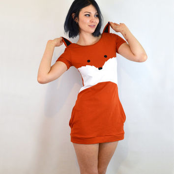 Fox dress with ears cotton jersey