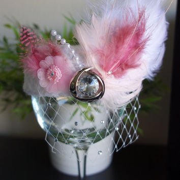 children photo prop white pillbox hat with pink decor  flower feather and rhinestone