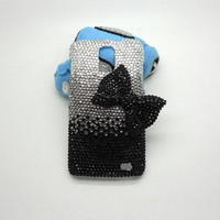 Handmade hard case for  samsung galaxy s2 skyrocket. : Bling black bow (customized are welcome)