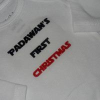 Padawan's First Christmas Bodysuit. Unique Holiday Onesuit. Can Be Customized By Size.