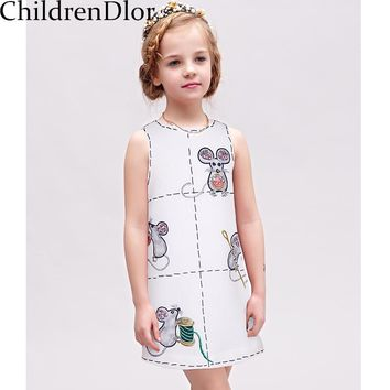 Girl Dress Kids Clothes 2017 Summer Kids Dresses for Girls Clothes Mouse Pattern Toddler Dress with Crystal Robe Princesse Fille