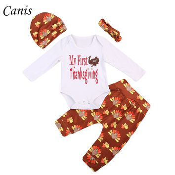 daa04aae55e2 Super Cute 4PCS Infant Baby Boy Girl My First Thanksgiving Romper Tops+Turkey  Pants +
