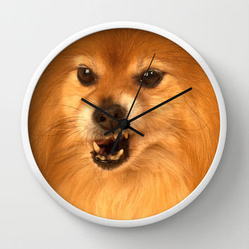 Angry Pomeranian dog Wall Clock by Bruce Stanfield