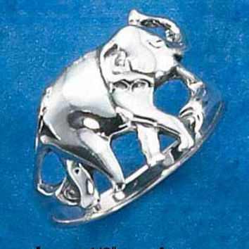 Sterling Silver Elephant With Trunk Up Ring