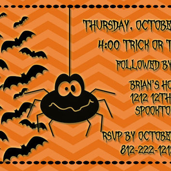 Halloween Invitation, Trick or Treat, Halloween Party (257)