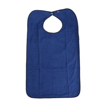 Solid Color Machine Washable Double Layer Adult Waterproof Bib Mealtime Clothing Protector (Dark Blue)