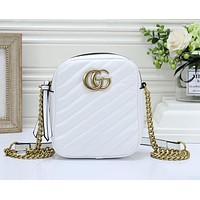 GUCCI Hot Sale Women Shopping Bag Leather Crossbody Satchel Shoulder Bag White