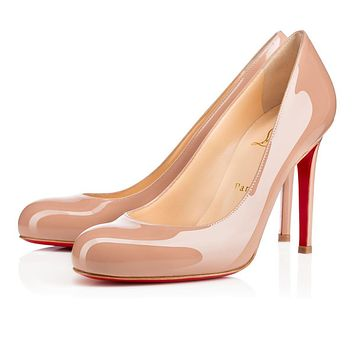 Best Online Sale Christian Louboutin Cl Simple Pump Nude 6248 Patent Leather 100mm Sti