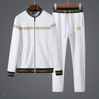 Versace autumn new trend casual men's fitness sportswear two-piece White