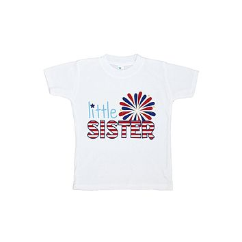 Custom Party Shop Girls' Little Sister 4th of July T-shirt