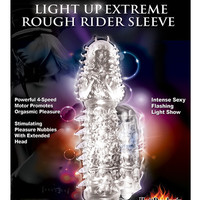 Wet Dreams Rough Rider Light Up Vibrating Sleeve - Clear