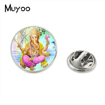 2018 Hot Selling Lord Ganesha Lapel Pins God of Fortune Collar Pin Hindu Elephant Brooch Meditation Spiritual Glass Jewelry Pins