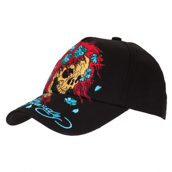 Ed Hardy - Skull Wig Youth Adjustable Black Baseball Cap
